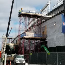 Scaffolding on the west side of the ballpark