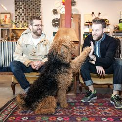 """Andrew Soernsen, Oscar the Airedale, and Mark Morris at Aggregate Supply. Photos by <a href=""""http://www.patriciachangphotography.com"""">Patricia Chang</a>."""