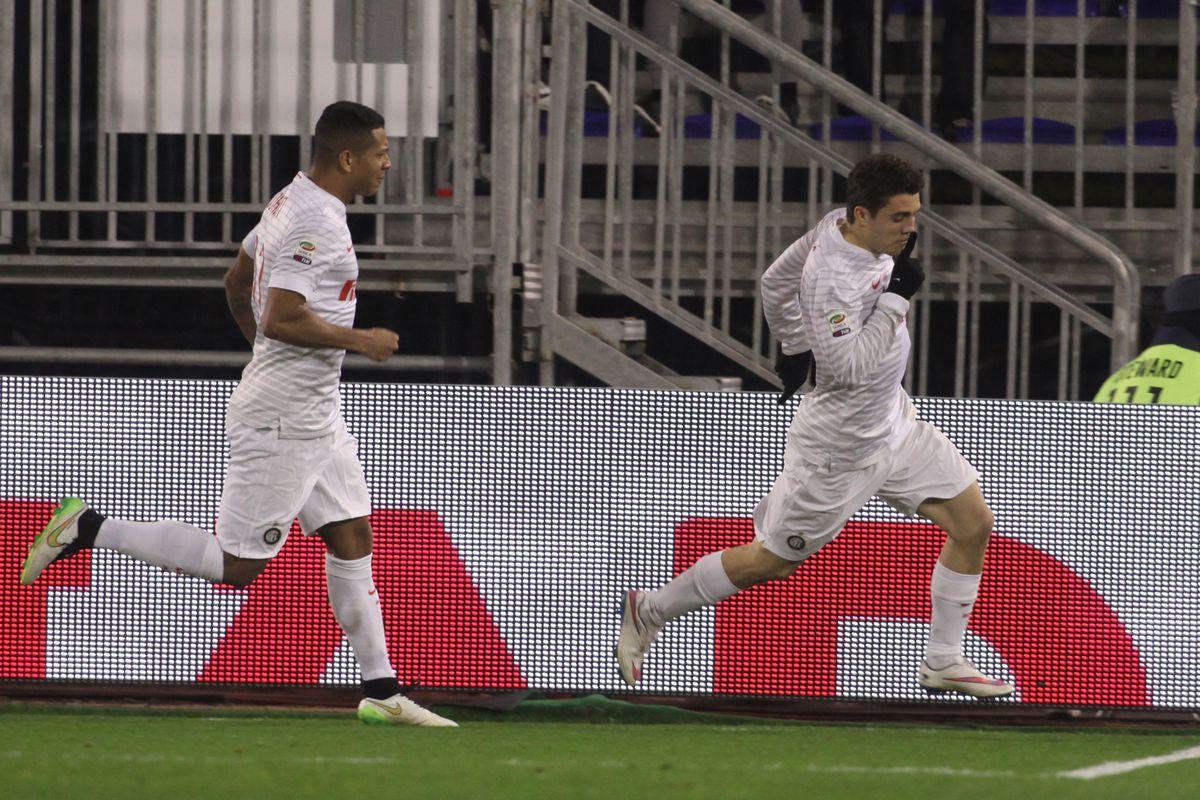 Kovacic celebrates his goal against Cagliari