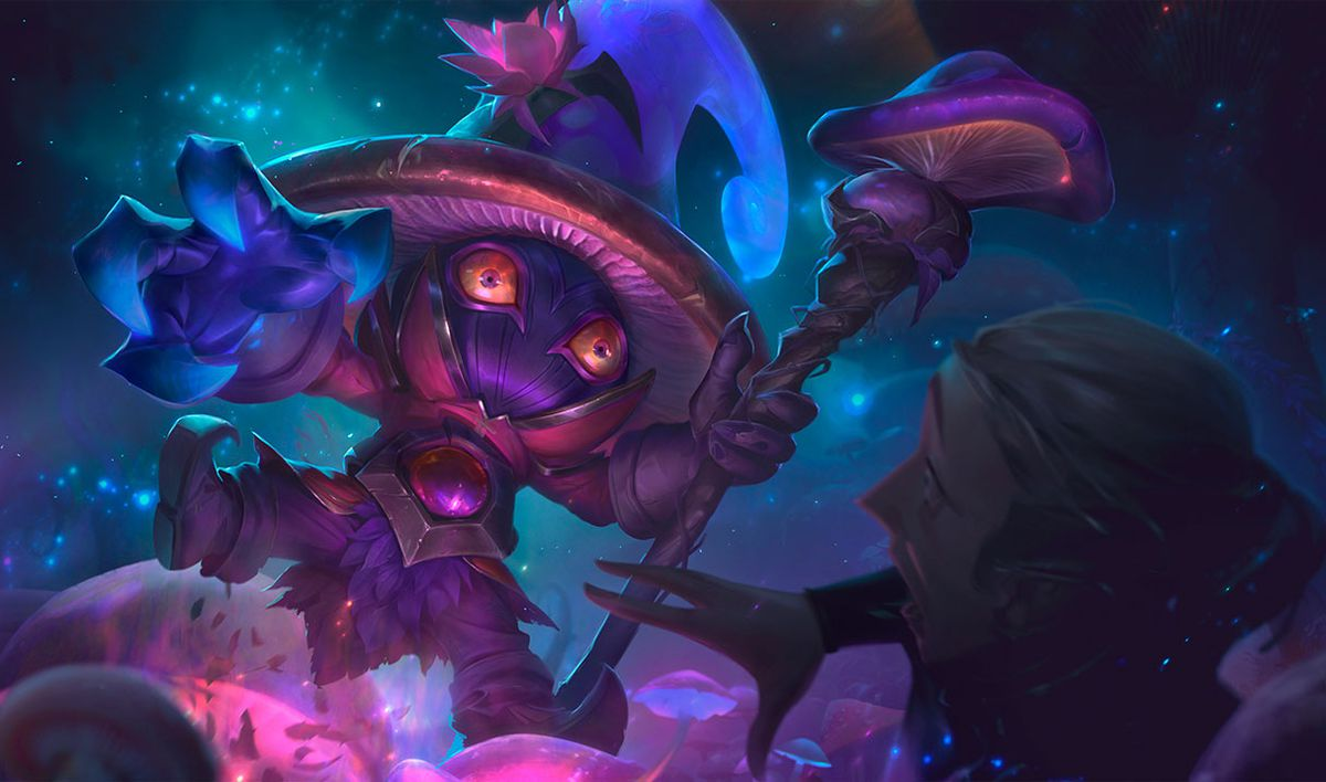 Elderwood Veigar jumps out at a passerby, looking at them with horrifying eyes