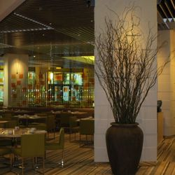 Another view of the glass dining room at Bacchanal Buffet.