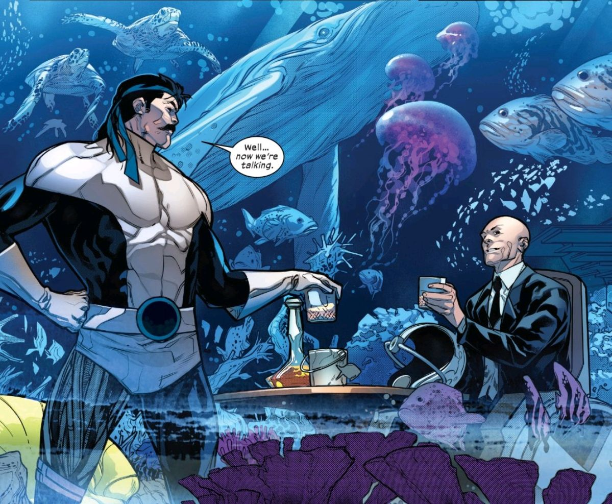 Forge and Professor X share drinks in his holographic home, which is projecting the illusion of being underwater and surrounded by sea life, in Powers of X #5, Marvel Comics (2019).