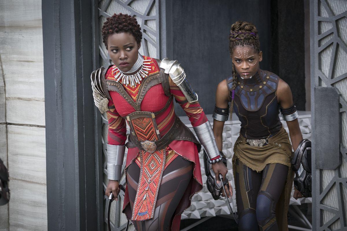 Marvel Studios' BLACK PANTHER..L to R: Nakia (Lupita Nyong'o) and Shuri (Letitia Wright)