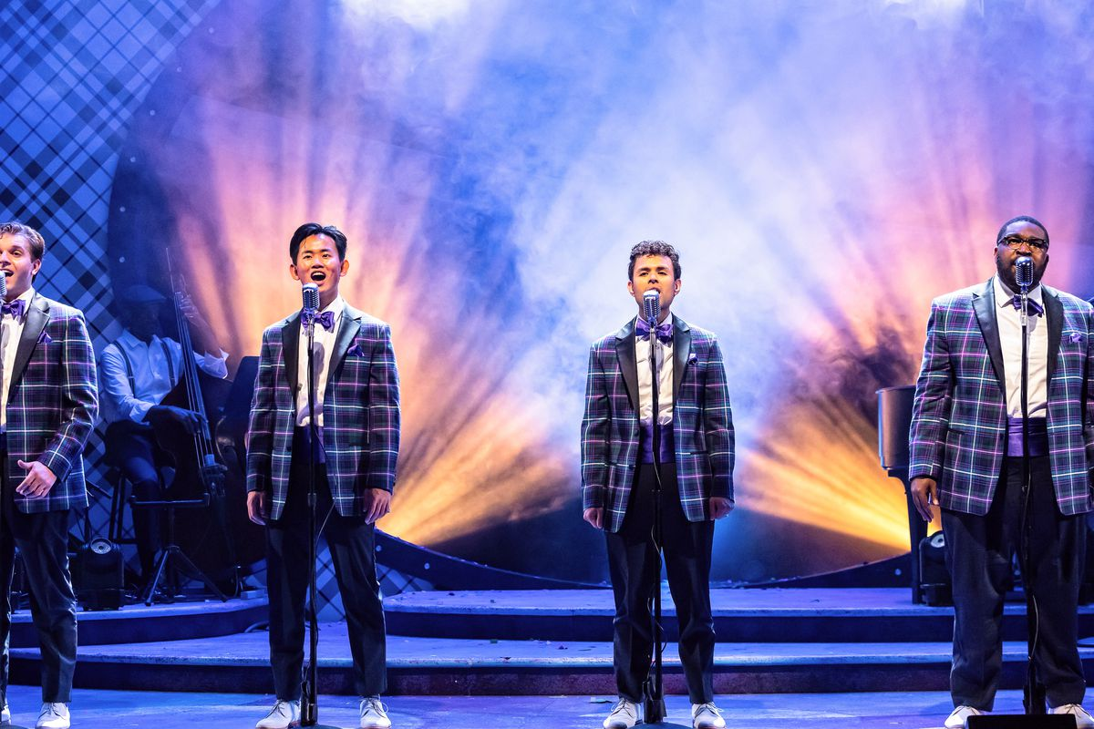 """(From left) Michael Ferraro, Bryan Eng, Yando Lopez and A.D. Weaver star in """"Forever Plaid,"""" playing at the Drury Lane Theatre in Oakbrook Terrace through Nov. 7."""