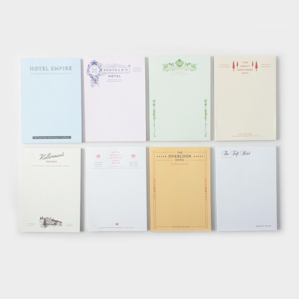 A set of notebooks inspired by fictional hotels