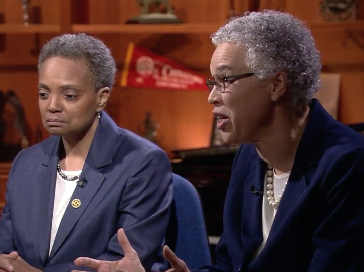 Mayoral candidates Lori Lightfoot, left, and Toni Preckwinkle, right, participate in a debate Thursday night on WTTW-Channel 11. Screen image.