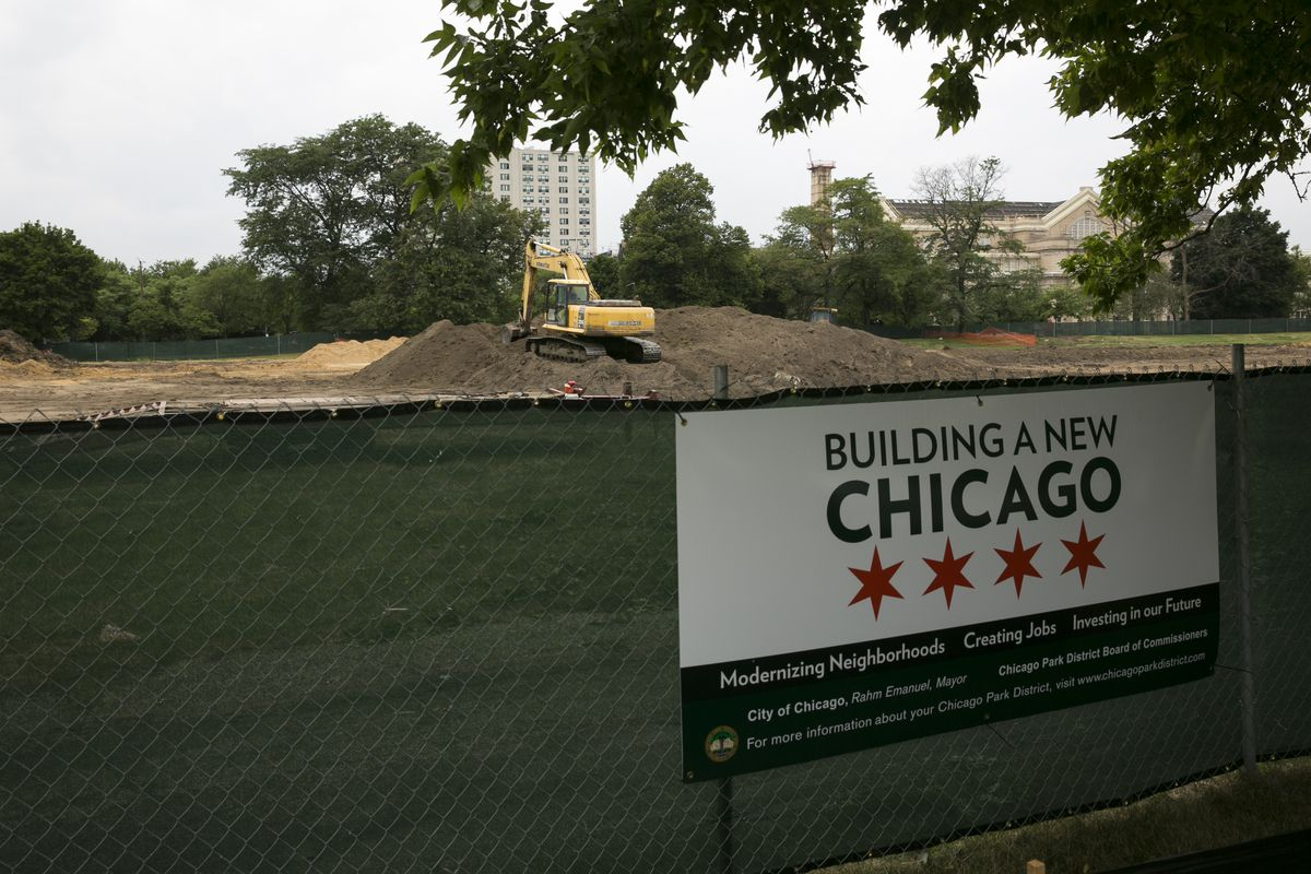 Earth-moving equipment in Jackson Park on Aug. 6, 2018. Hyde Park High School is in the background. | Rick Majewski/For the Sun-Times