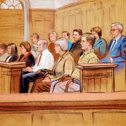 Courtroom sketch shows the jury in the Brian David Mitchell trial back to court with its verdict Friday in Salt Lake City.