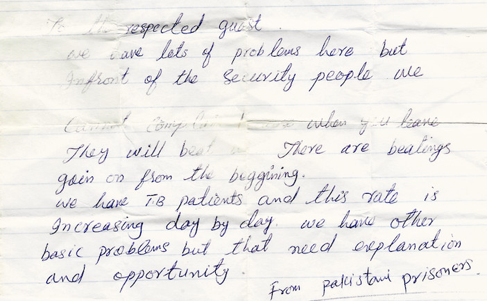 A note slipped to M. Cherif Bassiouni in 2005 by a Pakistani prisoner in an Afghan prison shows the gravity of his work. | Facebook