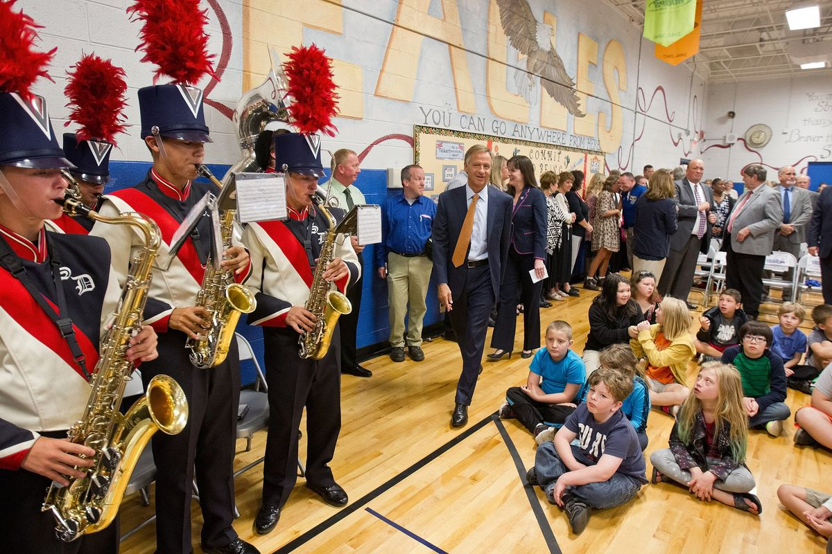 Gov. Bill Haslam attends a Knoxville school assembly in 2016 to celebrate Tennessee outpacing almost all other states in gains on a national science exam administered by the National Assessment of Educational Progress.