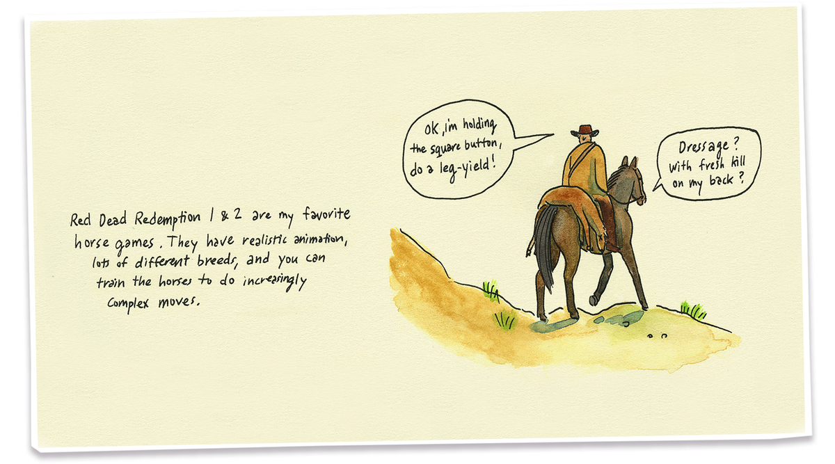 Comic book illustration of a cowboy on a horse