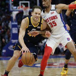 Utah Jazz forward Bojan Bogdanovic (44) drives against Detroit Pistons forward Christian Wood (35) during the second half of an NBA basketball game Saturday, March 7, 2020, in Detroit.