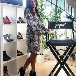 """<b>Sukhinder Singh Cassidy, CEO/Founder</b>, wearing a Black Swan dress, Treisi druzy ring, druzy necklace by Vanessa Mooney, and Vince Camuto boots. <br> <b>Your closet is on fire! What three items do you save from the flames?</b>  <br> """"Prada patent"""