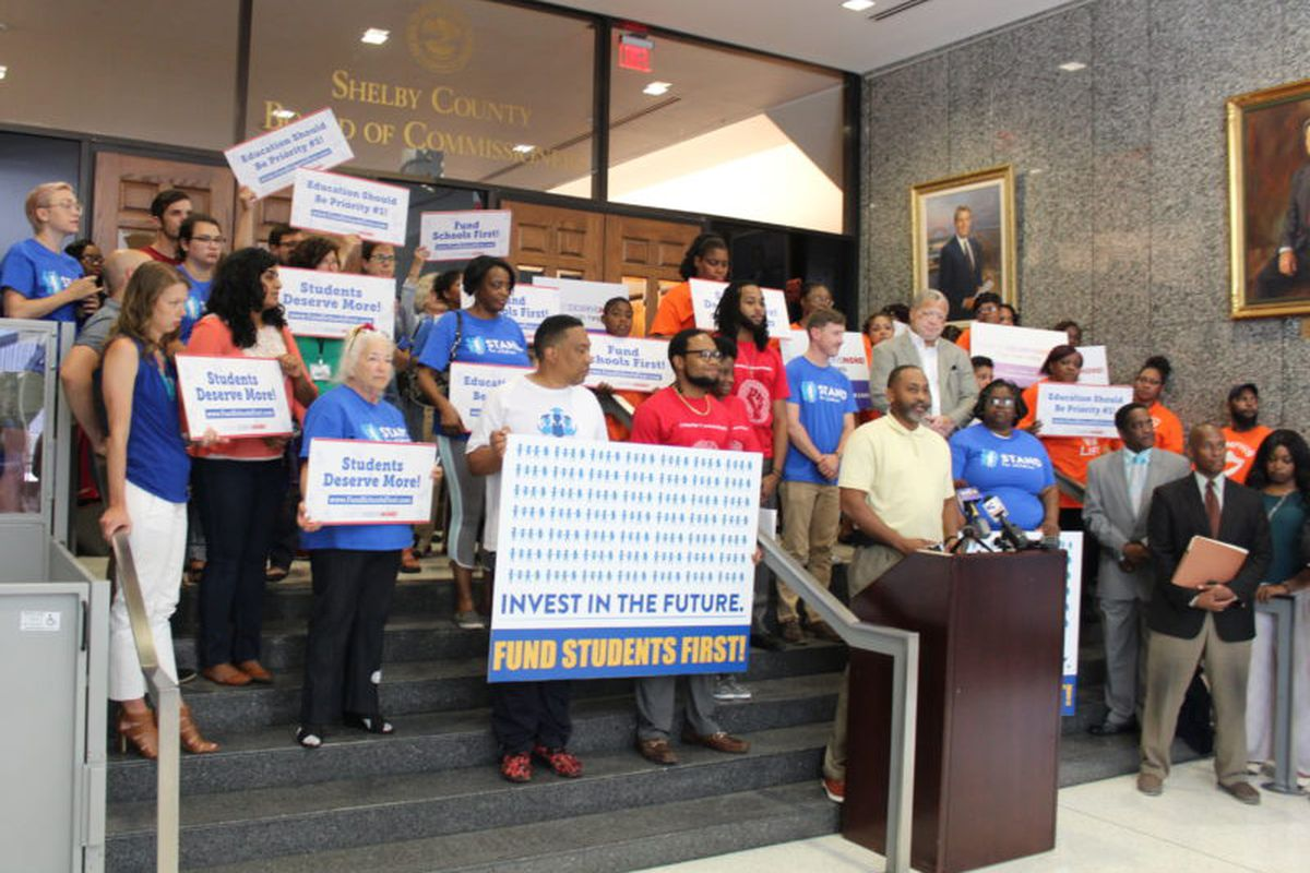 About 40 education advocates met before today's commission meeting to rally for more direct funding for student needs.