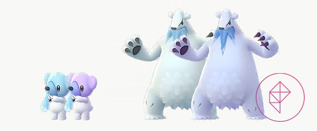 Shiny Cubchoo and Beartic with its normal forms. Shiny Cubchoo is a light purple and Shiny Beartic is more blue.