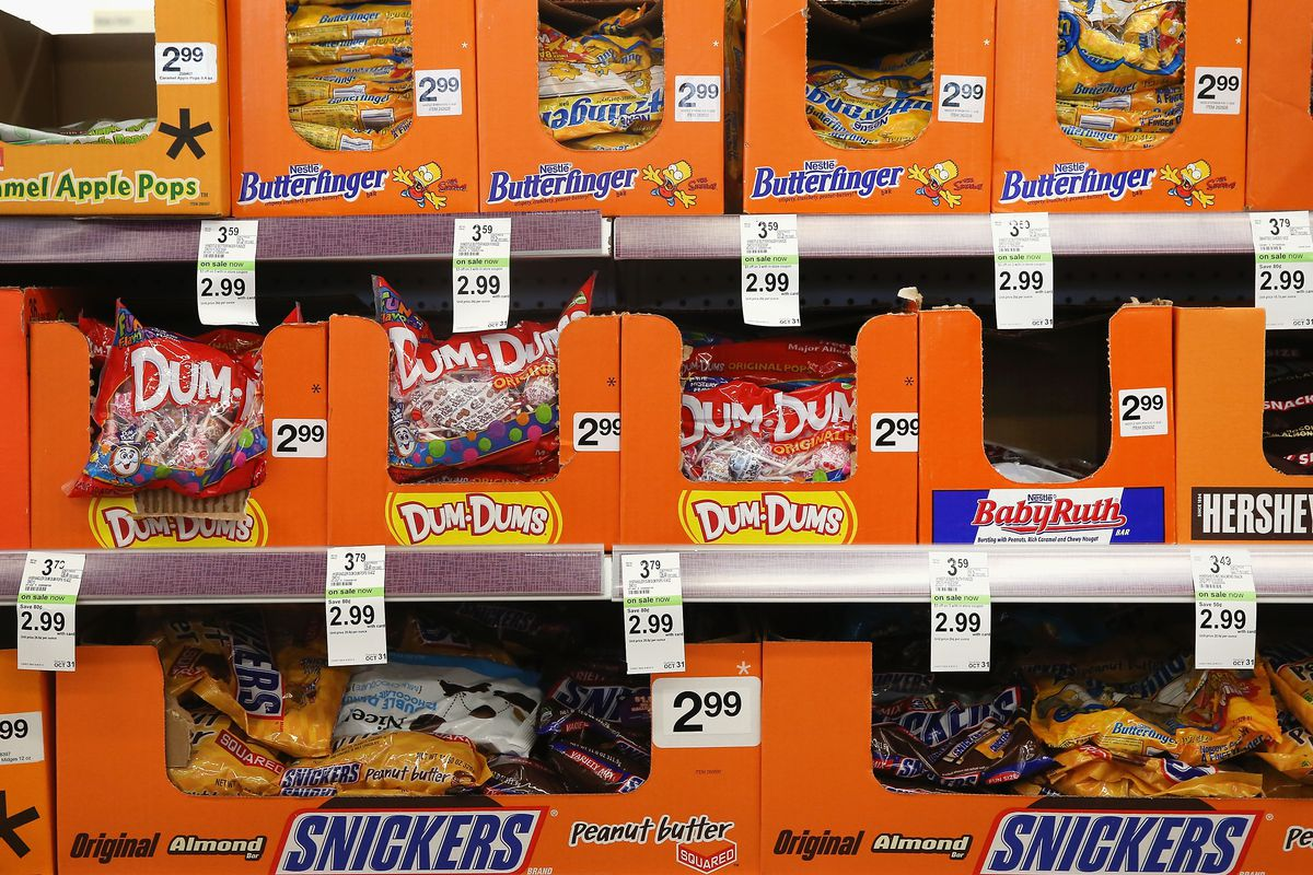 Shelves of Halloween candy for sale