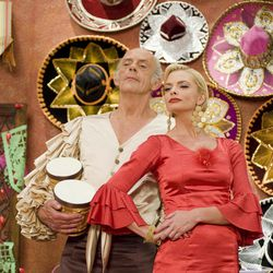 """This film image released by Kenn Viselman Presents, Inc. shows actors Christopher Lloyd as Lero Sombrero, left, and Jaime Pressly as Lola in a scene from """"The Oogieloves in the Big Balloon Adventure."""""""