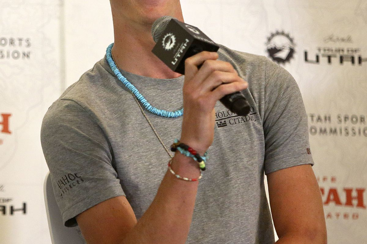 T.J. Eisenhart, cyclist, speaks during the Roll Out press conference for the Larry H. Miller Tour of Utah at the Zions Bank Basketball Center in Salt Lake City on Wednesday, Aug. 1, 2018.