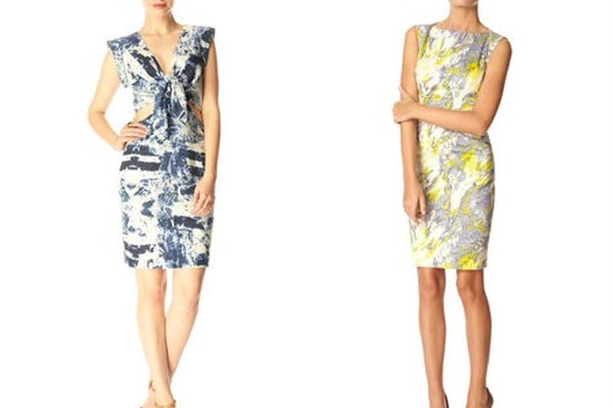"""<a href=""""http://usa.frenchconnection.com/product/Woman+Collections+Sale/71NI7/WOODBLOCK+WONDER+DRESS.htm"""">Woodblock Wonder Dress</a>, $98.99 (was $198), and the <a href=""""http://usa.frenchconnection.com/product/Woman+Collections+Sale/71XK7/COLETTE+FL"""