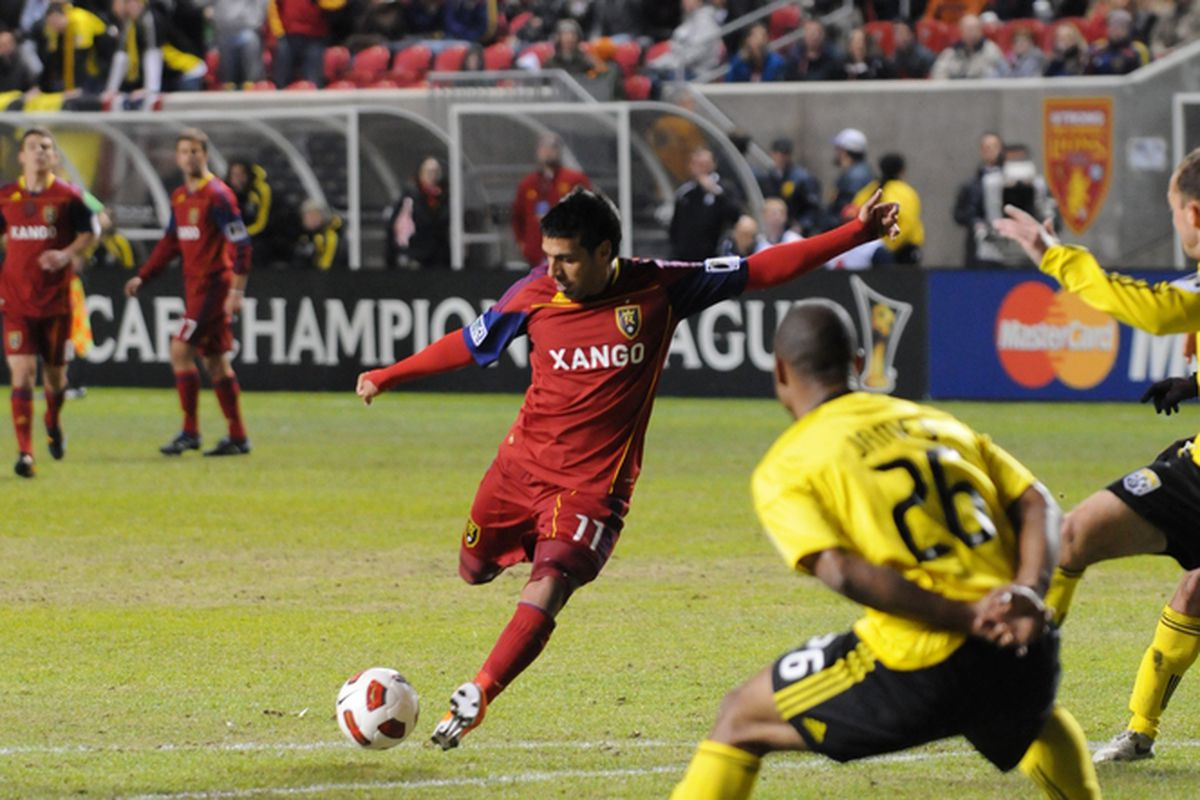 Javier Morales scores his second goal of the night