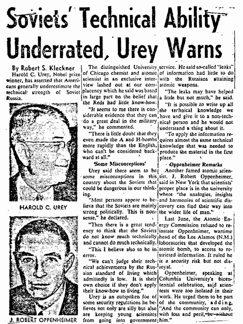 Newspapers and the FBI seemed to hang on Harold Urey's every public statement regarding his political views.