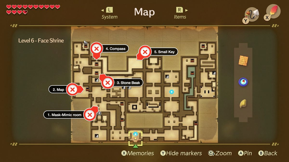 Link's Awakening Face Shrine path to collect Map, Stone Beak, Compass, and a Small Key