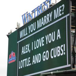2:36 p.m. Message on the left-field video board -