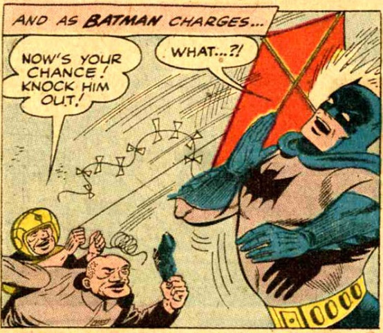 Kite Man distracts Batman in the character's first appearance in Batman #133 (DC Comics, 1960)