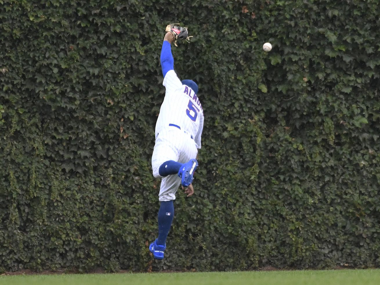 Cubs' Albert Almora Jr. leaves intrasquad game after running into outfield wall