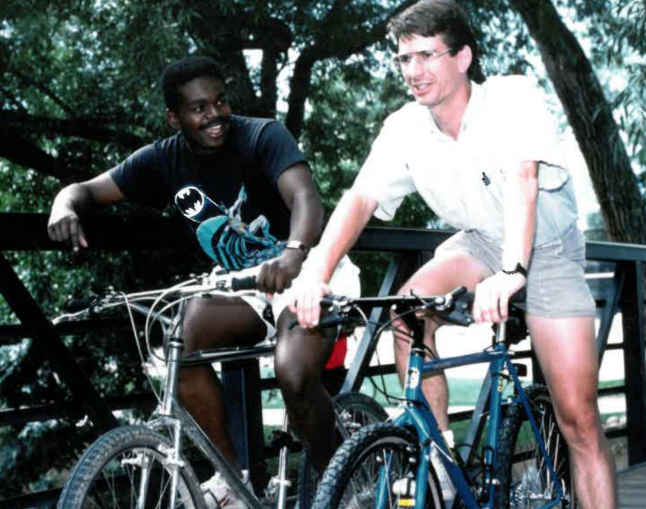 A 1989 photo of Rudy L. Horne (left) and PaulBeale, a professor of physics at the University of Colorado Boulder.Beale was Mr. Horne's mentor for an undergraduate physics project. | Provided photo