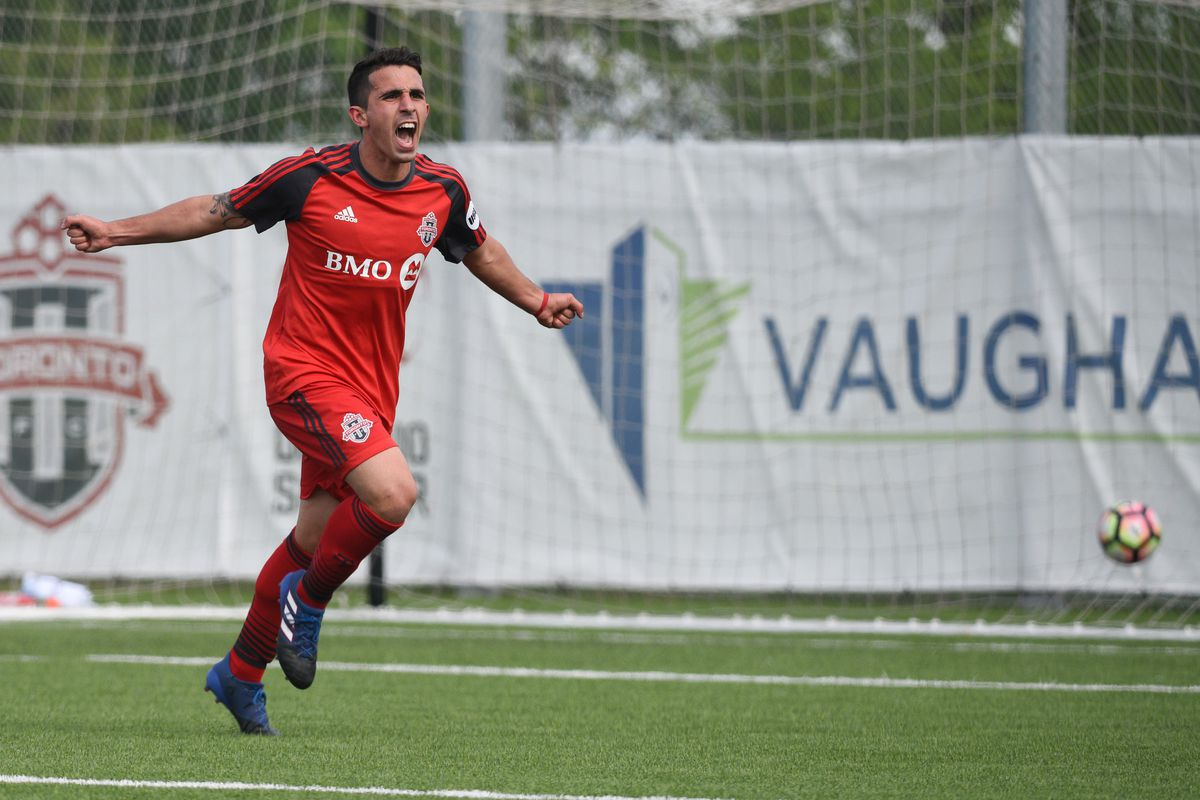 USL Photo, TFC II's Luca Uccello wheels away after scoring the opening goal