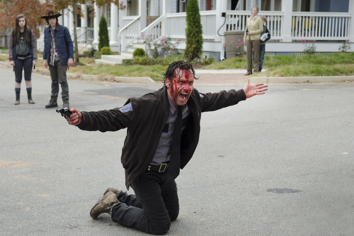 Rick (Andrew Lincoln) is pretty sure everybody should listen to him right about now. You guys.