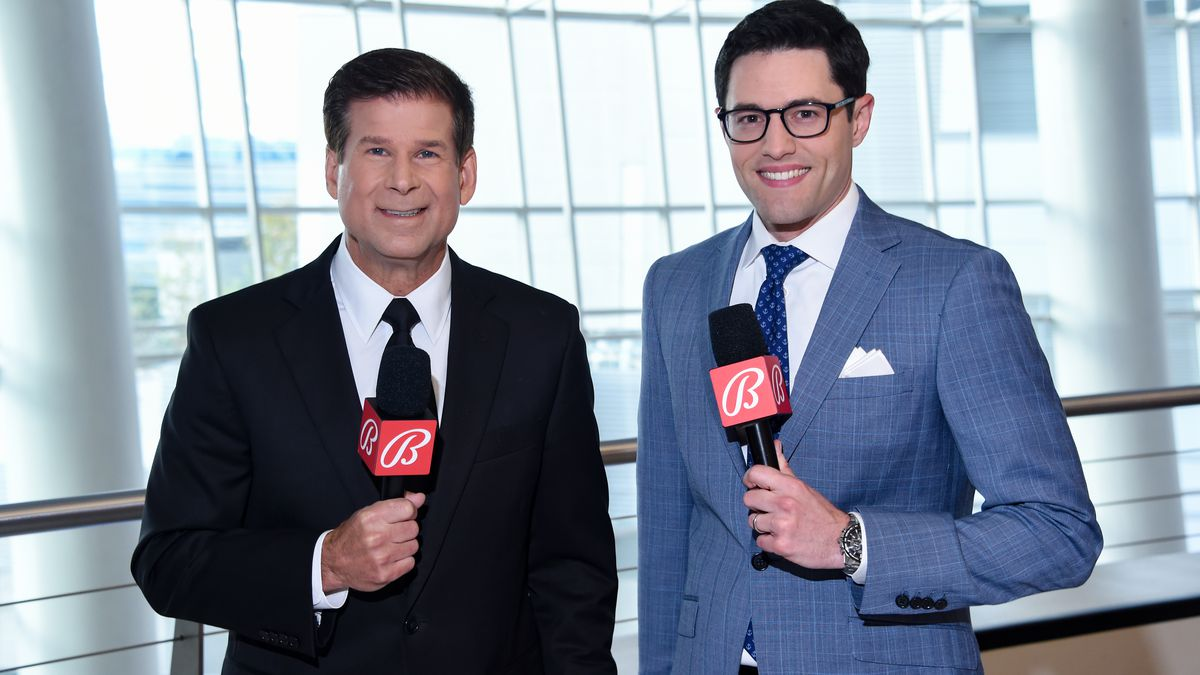 Jim Fox and Alex Faust pose for a photo prior to the game between Los Angeles Kings and the Minnesota Wild at STAPLES Center on April 23, 2021 in Los Angeles, California.