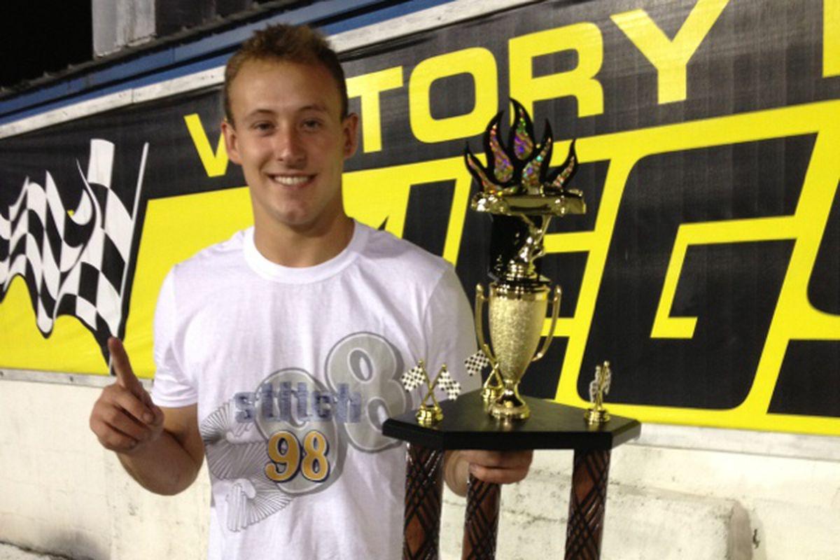 Danie Hemric celebrates a surprise win at Five Flags Speedway.