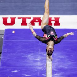Utah's Alexia Burch competes on the beam during a meet against Arizona at the Huntsman Center in Salt Lake City on Saturday, Jan. 23, 2021.