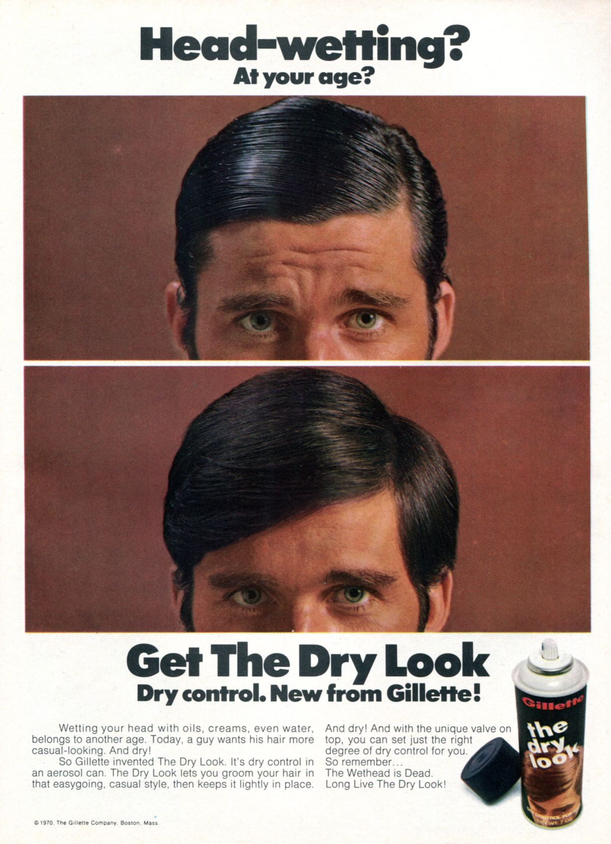 """Gillette """"Dry Look"""" Ad from 1970."""