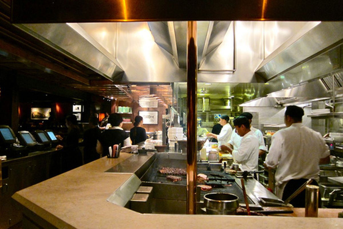 Inside the kitchen at Houston's, Pasadena.