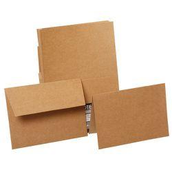 "<strong>JAM Paper</strong> Brown Kraft Paper Bag Recycled Stationery Set, <a href=""http://www.jampaper.com/CardsNotecards/BrownKraftPaperBagRecycledStationerySet"">$20 for 50 cards</a>"