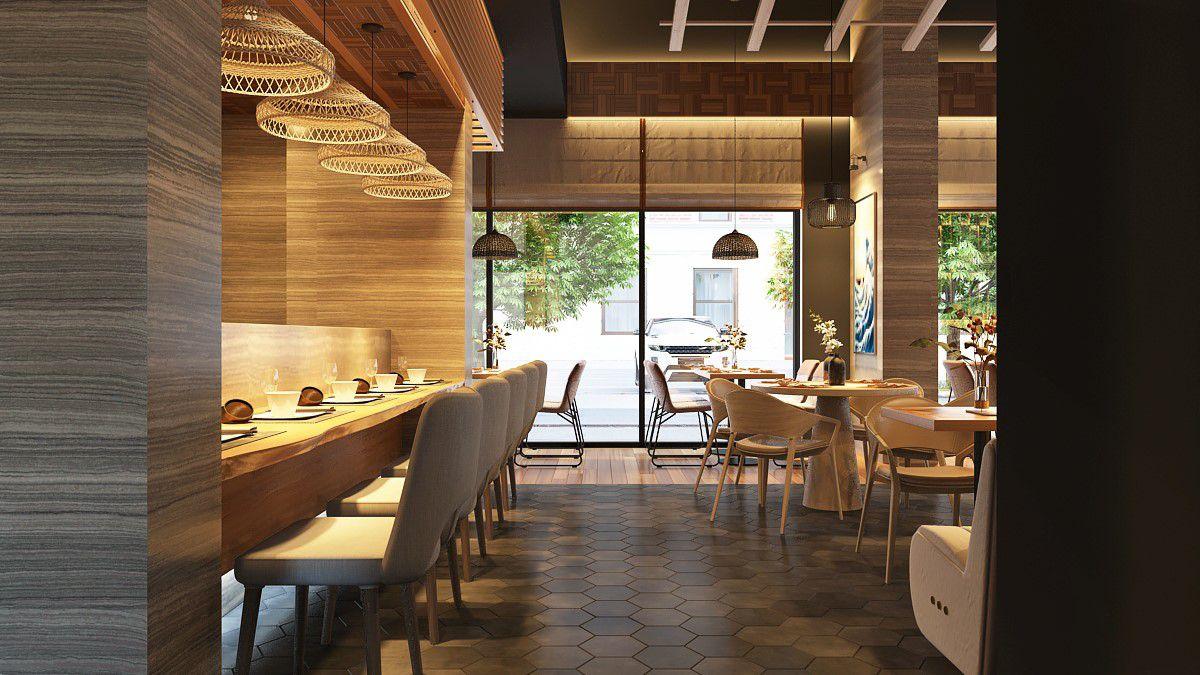 A rendering of the sushi bar at Kanau Sushi