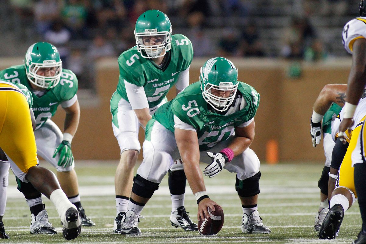 North Texas starter Andrew McNulty lines up against Southern Miss.  The senior QB has nailed down the top of the depth chart, but for how long?