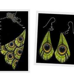 "BirdQueen Design's green peacock feather <a href=""http://birdqueendesigns.com/artwork/1705203_Green_Peacock_Feather_Earring.html"">earrings</a> ($15) and <a href=""http://birdqueendesigns.com/artwork/1673924_Green_Peacock_Half_Bib_Necklace.html"">half-bib n"