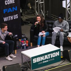 SB Nation's Elena Bergeron and Charlotte Wilder fanning out with visitors in The Deep End for Sunday FUNday to celebrate college basketball. And, hey! Is that DJ Jazzy Jeff? YES IT IS.