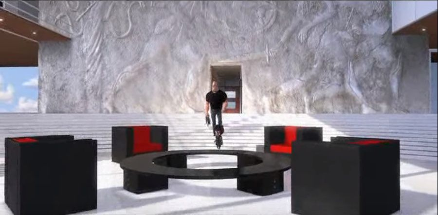 Still of the interior of Edna's house in 'The Incredibles' featuring a round table and four chairs