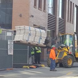 Construction material being delivered