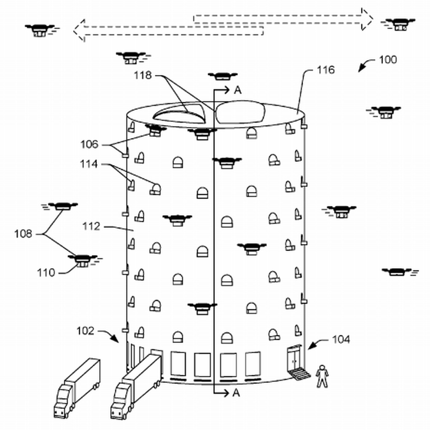 Amazons Idea For A Massive Drone Dock Looks Like Cross Between Beehive Phone Wiring Diagram And Spaceship Recode