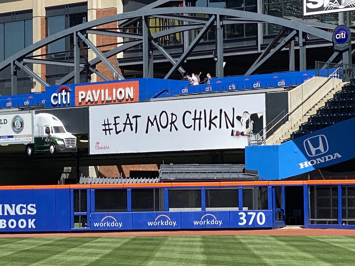 A sign at Citi Field in Queens, N.Y., home of the New York Mets, advertises Chick-fil-A restaurants.