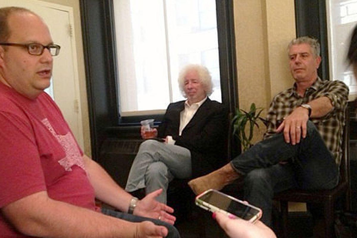 L to R: Daniel Vaughn, Ecco Editor Dan Halpern, Anthony Bourdain