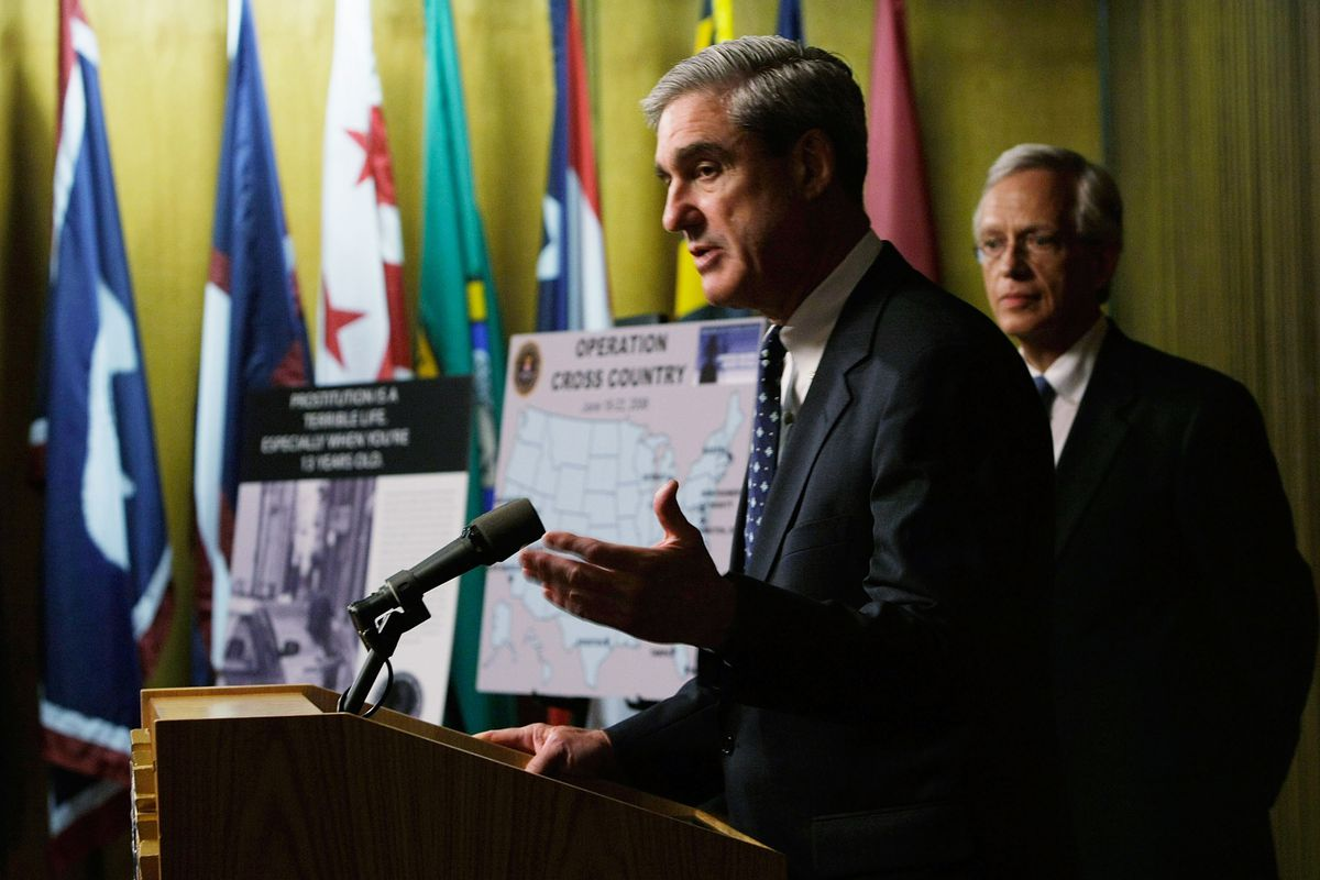 Robert Mueller at a news conference at the FBI headquarters June 25, 2008.