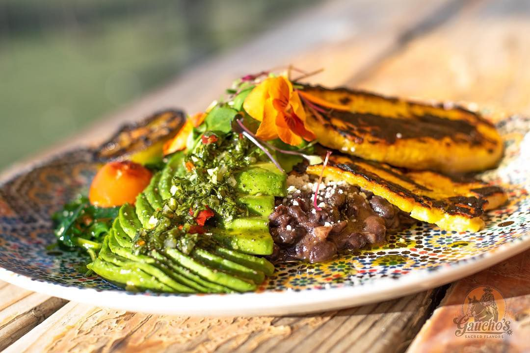 Plantain and black bean plate at Gaucho's Sacred Flavors