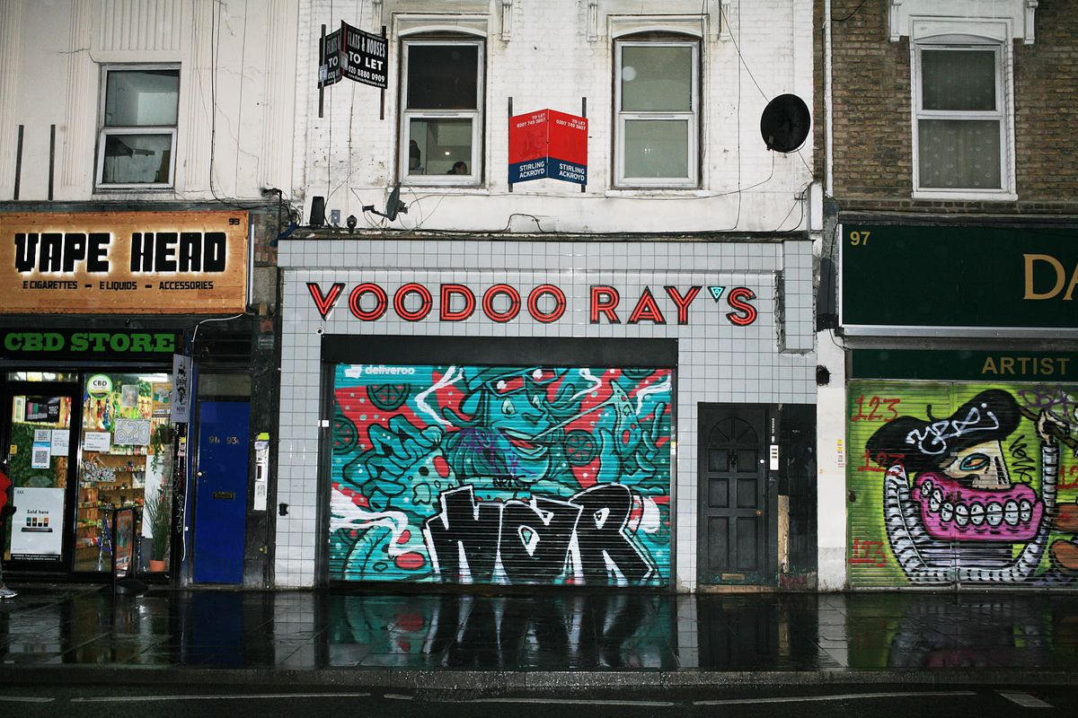 Voodoo Rays on Kingsland Road, Dalston, closed during the coronavirus lockdown in London